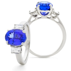HROGTZ1090 Tanzanite & Emerald cut Diamond Three Stone Ring - white