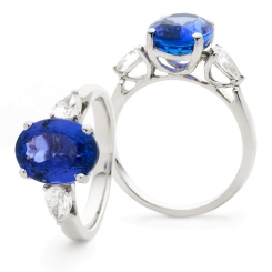 HROGTZ1089 Tanzanite & Pear cut Diamond Three Stone Ring - white