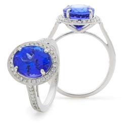 HROGTZ1098 Single Circle Halo Tanzanite & Diamond Gemstone Ring - white