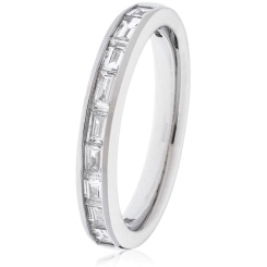 HRBHE1009 Baguette Shape Diamond Half Eternity Ring in 18K White Gold - 0.60ct, VS clarity, FG colour - white
