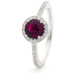 HRRGRY1049 Ruby & Diamond Single Shoulder Halo Ring - white