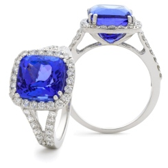 HRPGTZ1111 Split Shank Tanzanite & Diamond Octa Design Halo Ring - white