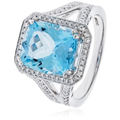HRPGAQ1118 Single Halo Aquamarine & Diamond Halo Ring - white