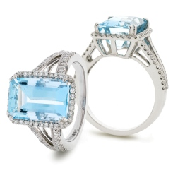 HREGAQ1119 Emerald Shape Aquamarine & Diamond Halo Ring - white