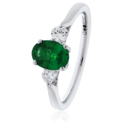HRRGEM1018 Emerald and Diamond Three Stone Ring - white