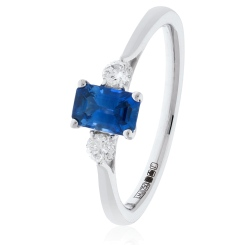 HRPGBS1020 Princess Cut Blue Sapphire and Diamond Three Stone Ring - white