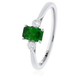 HRPGEM1021 Princess Cut Emerald and Diamond Three Stone Ring - white