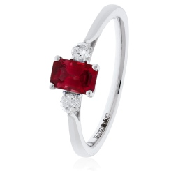 HRPGRY1022 Princess Cut Ruby and Diamond Three Stone Ring - white