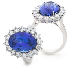 HROGTZ1095 Large Tanzanite & Diamond Halo Gemstone Ring - white