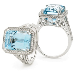 HREGAQ1120 Designer Shank Aquamarine & Diamond Halo Ring - white