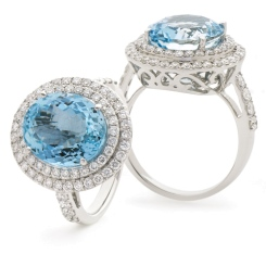 HRRGAQ1122 Round Shape Aquamarine & Diamond Double Halo Ring - white