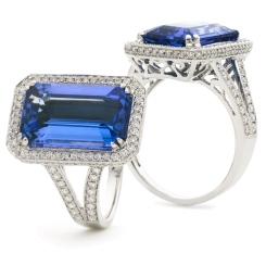 HREGTZ1114 Elongated Tanzanite & Diamond Design Halo Ring - white