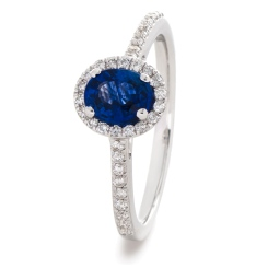 HROGBS1029 Oval cut Blue Sapphire Halo Ring - white