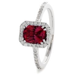 HREGRY1061 Ruby & Diamond Shoulder Halo Gemstone Ring - white