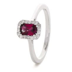 HREGRY1059 Emerald Shaped Ruby Halo Gemstone Ring - white