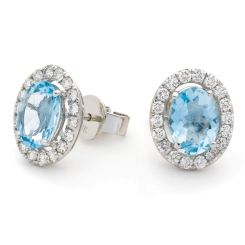 HEOGAQ298 Oval cut Aquamarine Halo Earrings - white