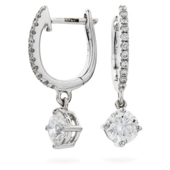 HERCL243 Solitaire Diamond Drop Earrings - white