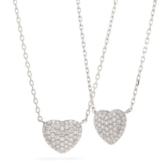 HPRDR207 Round cut Grain set Diamonds Heart Pendant with Fixed Chain - white