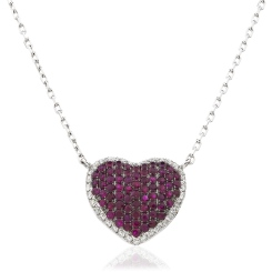 HPRGRY237 Heart Design Ruby Halo Pendant - white