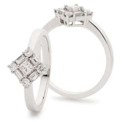 HRPCL934 Princess cut Centre Twisted Square Cluster DIamond Ring - white