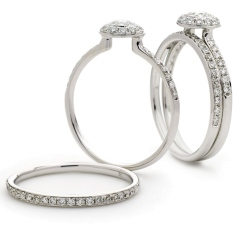 HRRBS890 Round cut Diamond Pave set Designer Bridal Set - white