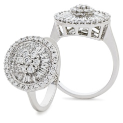 HRRCL930 Round &  Baguette Circular Halo Cluster Diamond Ring - white