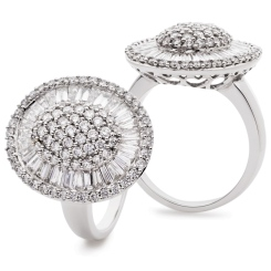 HRRCL932 Round &  Baguette Oval Shaped Halo Cluster Diamond Ring - white