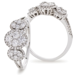 HRRCL941 Designer Round cut Cocktail Cluster Diamond Ring - white