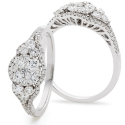 HRRCL943 Designer Round cut Cluster Cocktail Diamond Ring - white