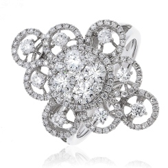 HRRCL945 Large Round cut Cluster Cocktail Diamond Ring - white