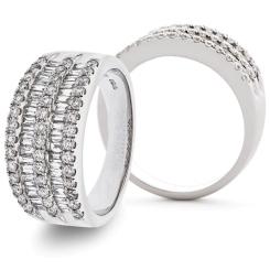 HRRFE1016 Round & Baguette Diamond Dress Half Eternity Ring - white