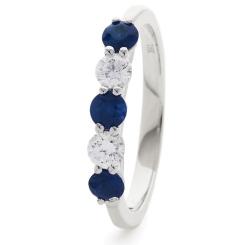 HRRGBS985 Blue Sapphire 5 Stone Diamond Ring - white