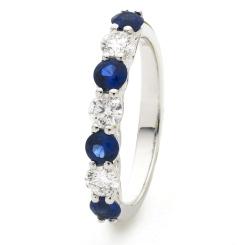 HRRGBS988 Blue Sapphire 7 Stone Diamond Ring - white