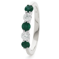 HRRGEM986 Emerald 5 Stone Diamond Ring - white