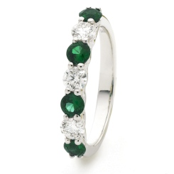 HRRGEM989 Emerald 7 Stone Diamond Ring - white