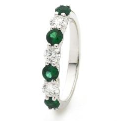 HRRGEM989 Emerald 7 Stone Diamond Ring - white