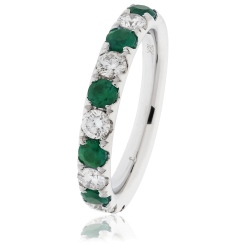 HRRGEM992 Emerald & Diamond Half Eternity Ring - white