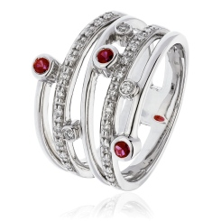 HRRGRY1085 Diva Ruby Gemstone Cocktail Diamond Ring - white