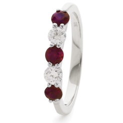 HRRGRY987 Ruby 5 Stone Diamond Ring - white