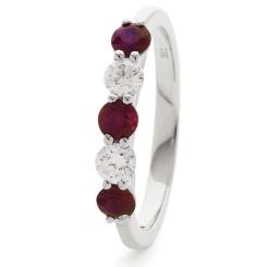HRRGRY987 Ruby 5 Stone Diamond Ring - white