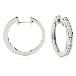 HER155 Round cut Diamond Hoop Earrings - white
