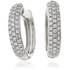 HER166 Round cut Designer Hoop Diamond Earrings - white