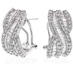 HER167 Round & Baguette cut Hoop Diamond Earrings - white