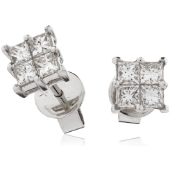 HEPCL129 Four Claw Cluster Diamond Earrings - white