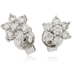 HERCL103 Round cut Diamond Floral Cluster Earrings - white