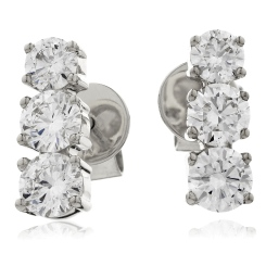 HER234 Trilogy Round Diamond Journey Earrings - white