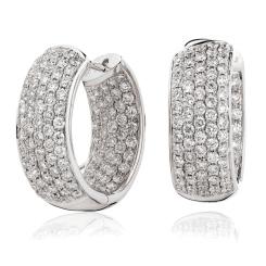 HER177 Designer Round cut Diamond Hoop Earrings - white