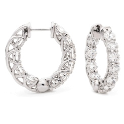 HER176 Unique Diamond Hoop Earrings - white