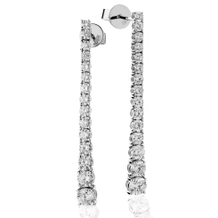HER235 Line Design Diamond Journey Earrings - white