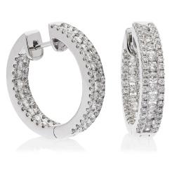 HER179 Designer Round cut Diamond Hoop Earrings - white
